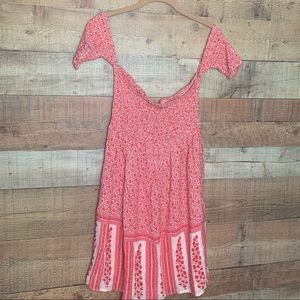 Nwt Urban Outfitters Red Floral Off Shoulder Dress